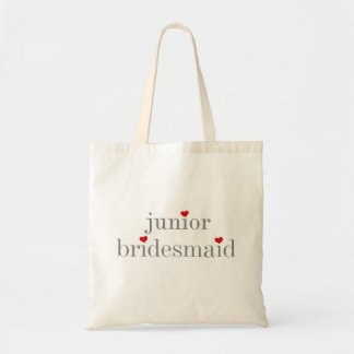 Gray Text Junior Bridesmaid Tote Bag