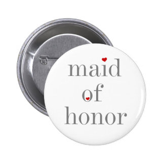 Gray Text Maid of Honor 2 Inch Round Button