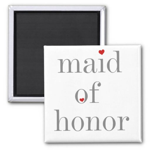 Gray Text Maid of Honor 2 Inch Square Magnet