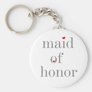 Gray Text Maid of Honor Basic Round Button Keychain