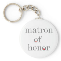 Gray Text Matron of Honor Keychain