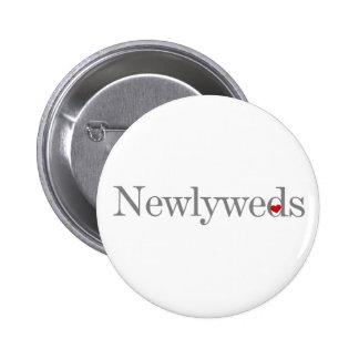 Gray Text Newlyweds Pinback Button