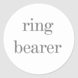 Gray Text Ring Bearer Classic Round Sticker