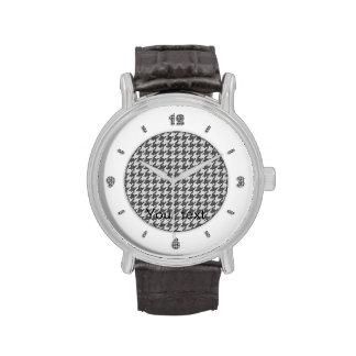 Gray Textured Houndstooth Pattern - Text Template Wrist Watch