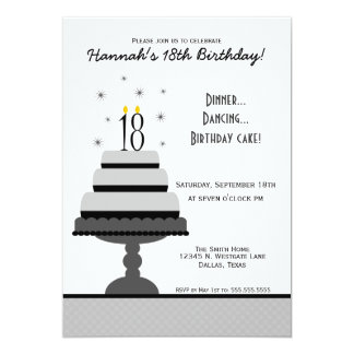 Gray Tiered Cake 18th Birthday Party Invitation