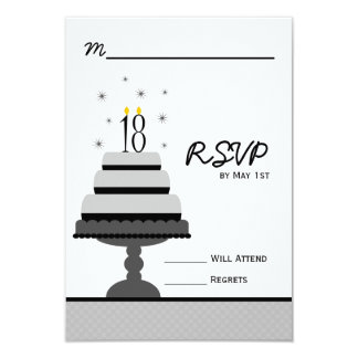 Gray Tiered Cake 18th Birthday Party RSVP Card