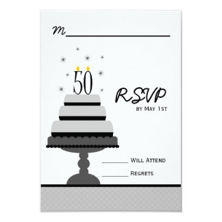 Gray Tiered Cake 50th Birthday Party RSVP Card