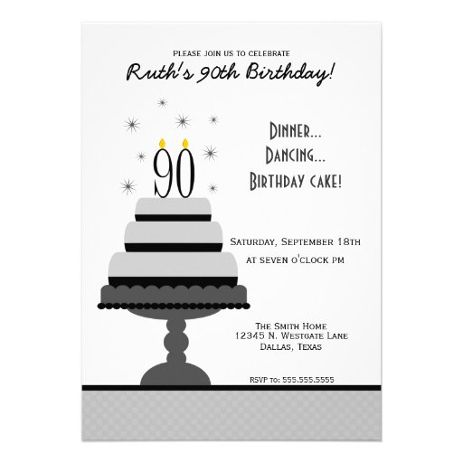 Gray Tiered Cake 90th Birthday Party Invitation