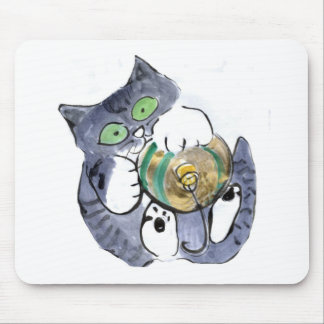Gray Tiger Kitten Hanging on Tight to the ornament Mouse Pad
