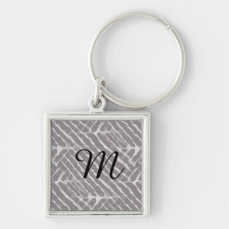 Gray Tiger Stripes Canvas Look Keychain