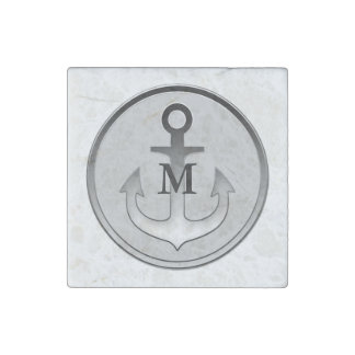 Gray Tone Anchor Monogrammed Stone Magnet