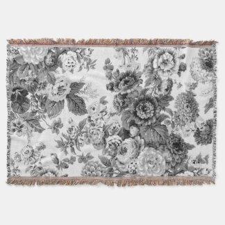 Gray Tone Black & White Vintage Floral Toile Throw Blanket