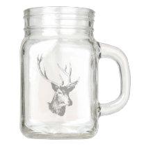 Gray Tones Deer Head Illustration Mason Jar