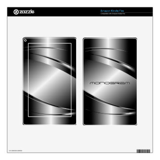 Gray Tones Stainless Steel Look Decals For Kindle Fire
