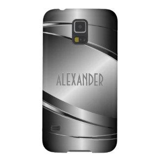 Gray Tones Stainless Steel Metallic Look-Monogram Case For Galaxy S5