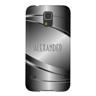 Gray Tones Stainless Steel Metallic Look-Monogram Galaxy S5 Cover
