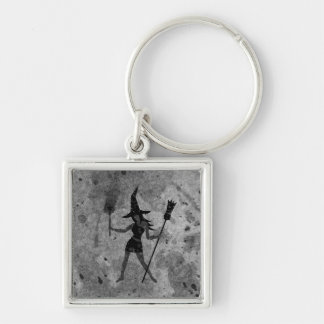 Gray Tones Witch Silver-Colored Square Keychain