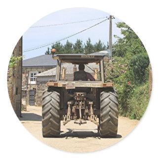 Gray Tractor on El Camino, Spain Classic Round Sticker