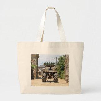 Gray Tractor on El Camino, Spain Large Tote Bag