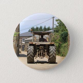 Gray Tractor on El Camino, Spain Pinback Button
