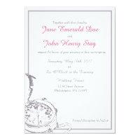 Gray Travel Compass Wedding Invitation