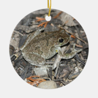 Gray Tree Frog Ceramic Ornament