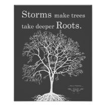 Gray Tree Silhouette Strength Inspirational Print