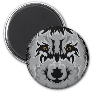 Gray Tribal Wolf Head 2 Inch Round Magnet