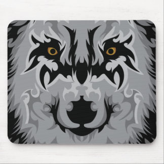 Gray Tribal Wolf Head Mouse Pad