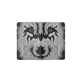Gray Tribal Wolf Head Pocket Moleskine Notebook Cover With Notebook