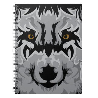 Gray Tribal Wolf Head Spiral Note Books