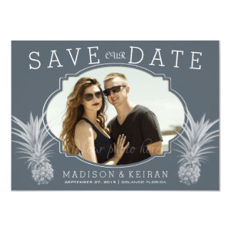 Gray Tropical Wedding Photo Save Our Date Card