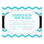 Gray & Turquoise Chevron Wedding Reception ONLY 4.25x5.5 Paper Invitation Card