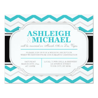 Gray & Turquoise Chevron Wedding Reception ONLY Personalized Announcement