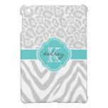 Gray & Turquoise Chic Animal Print Custom Monogram iPad Mini Covers