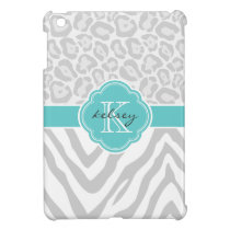 Gray & Turquoise Chic Animal Print Custom Monogram iPad Mini Cases