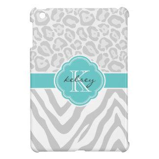 Gray & Turquoise Chic Animal Print Custom Monogram iPad Mini Cases