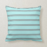 [ Thumbnail: Gray & Turquoise Colored Stripes/Lines Pattern Throw Pillow ]