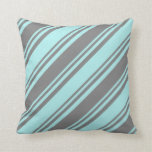 [ Thumbnail: Gray & Turquoise Colored Stripes Throw Pillow ]