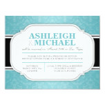 Gray & Turquoise Damask Wedding Reception ONLY 4.25x5.5 Paper Invitation Card