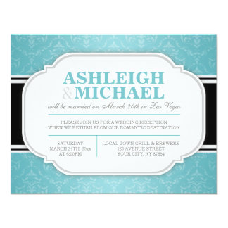 Gray & Turquoise Damask Wedding Reception ONLY Card