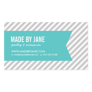 Gray & Turquoise Modern Stripes & Ribbon Business Card Template