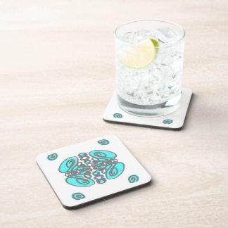 Gray & Turquoise swirls design on whiteb/g coaster