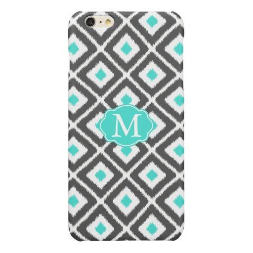 Gray, Turquoise, White Ikat Diamond Pattern Glossy iPhone 6 Plus Case