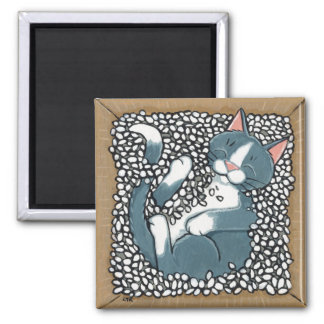 Gray Tuxedo Cat Sleeping in Box of Packing Peanuts 2 Inch Square Magnet