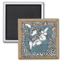 Gray Tuxedo Cat Sleeping in Box of Packing Peanuts Magnet