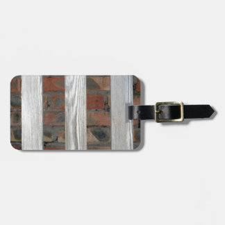 Gray unpainted wooden planks with natural texture luggage tag