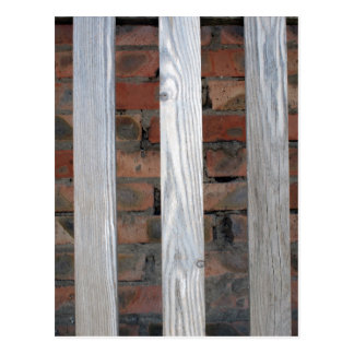 Gray unpainted wooden planks with natural texture postcard