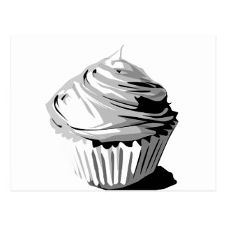 Gray vector cupcake postcard