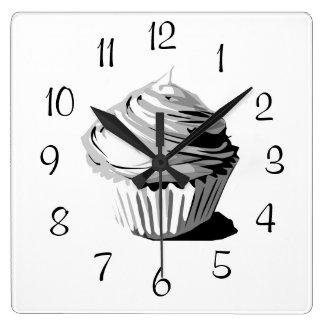 Gray vector cupcake wall clock